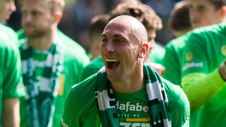 Scott Brown celebrates Celtic's title win