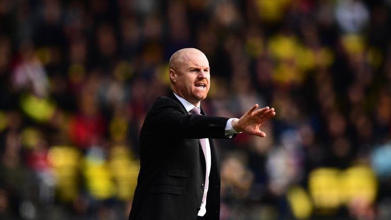 Sean Dyche during the Premier League match between Watford and Burnley at Vicarage Road on April 7, 2018 in Watford, England.