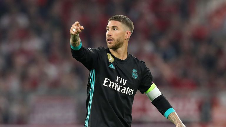Real Madrid caption Sergio Ramos during the UEFA Champions League Semi-Final, First Leg against Bayern Munich at the Allianz Arena on April 25, 2018