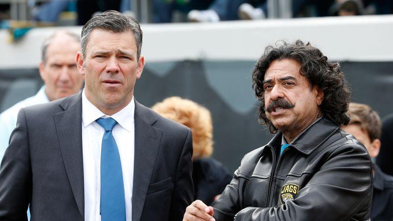 Khan with former Jacksonville Jaguars quarterback Mark Brunell.