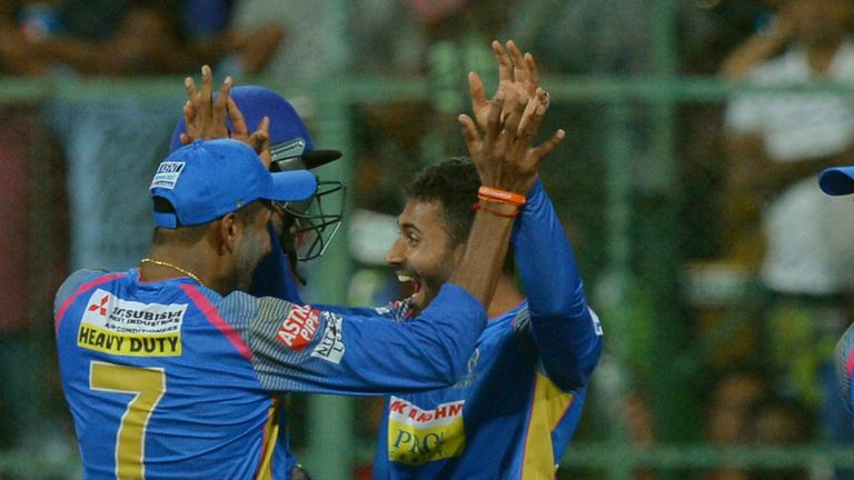 Shreyas Gopal (R) celebrates the wicket of Virat Kohli (Credit: AFP)