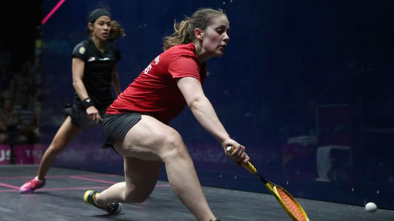 Tesni Evans of Wales (right) competes against Nicol David of Malaysia during squash in the women's single Bronze Medal match