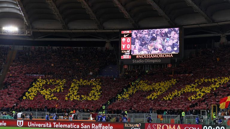 during the Serie A match between AS Roma and SS Lazio at Stadio Olimpico on November 18, 2017 in Rome, Italy.