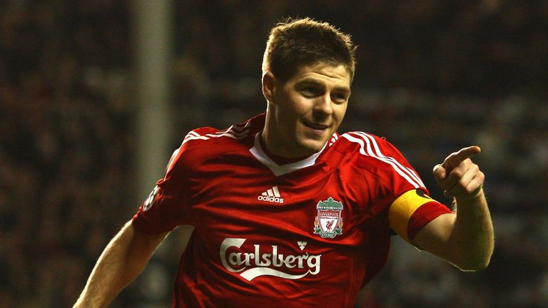 Liverpool skipper Steven Gerrard celebrates after scoring against Real in 2009