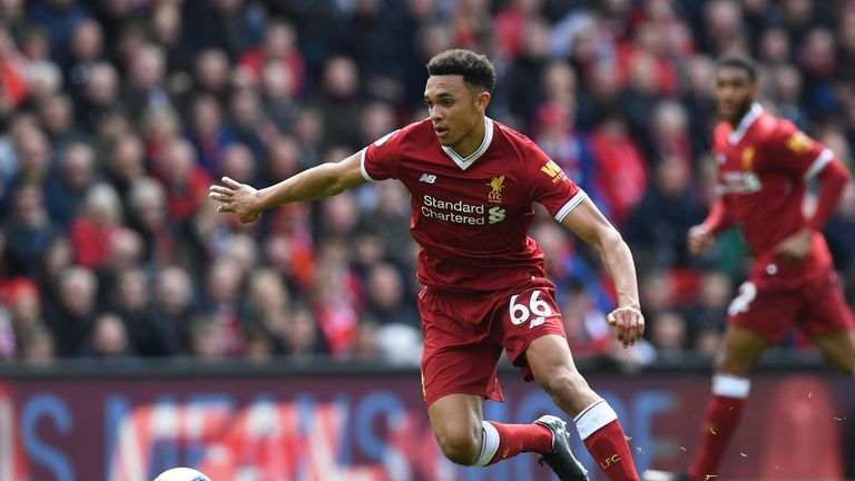 Trent Alexander-Arnold in action for Liverpool during the Premier League match against Stoke City