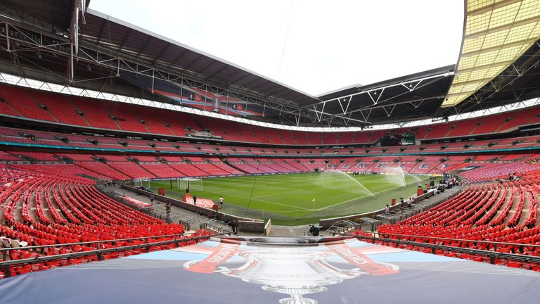 Wembley Stadium ahead of the 2017 FA Cup final between Arsenal and Chelsea