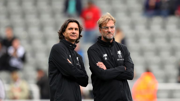 Zeljko Buvac and Jurgen Klopp during the Premier League match between Newcastle United and Liverpool at St. James Park on October 1, 2017 in Newcastle upon Tyne, England.
