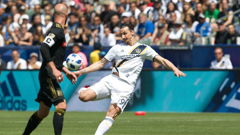 March 31, 2018 - Carson, California, U.S - Los Angeles Galaxy F Zlatan Ibrahimovic (9) in action during the MLS match between LAFC and the Los Angeles Galaxy at the StubHub Center