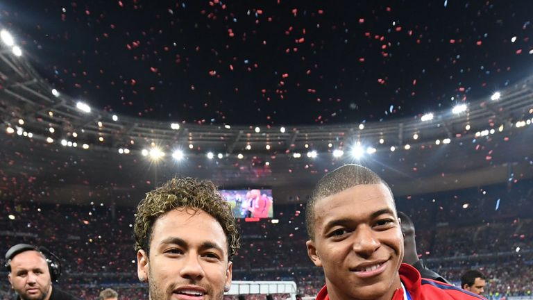 Neymar - recovering from a broken foot - joined Kylian Mbappe and his PSG team-mates to celebrate the French Cup win