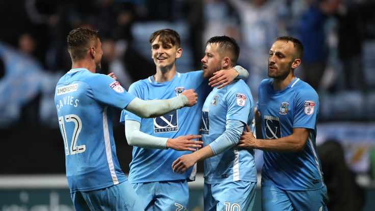 Tom Bayliss (second from left) and Marc McNulty (third from left) celebrate for Coventry City