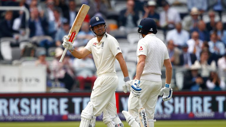Alastair Cook went through to a 56th Test fifty on the first day at Lord's