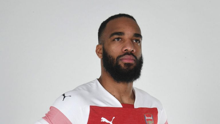 Alexandre Lacazette in the new Arsenal home kit for the 2018/19 season