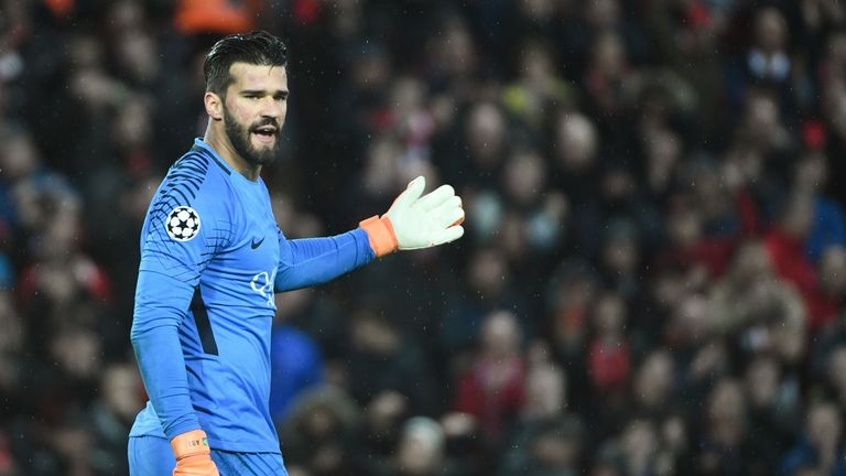 Roma goalkeeper Alisson during the UEFA Champions League semi-final, first leg against Liverpool at Anfield on April 24, 2018