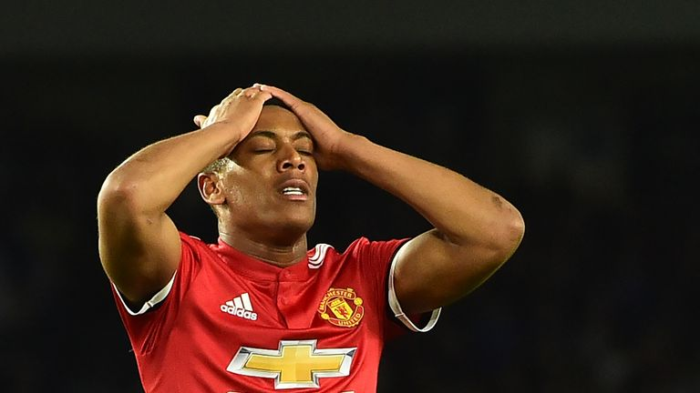 Martial endured a frustrating evening on the south coast against Brighton