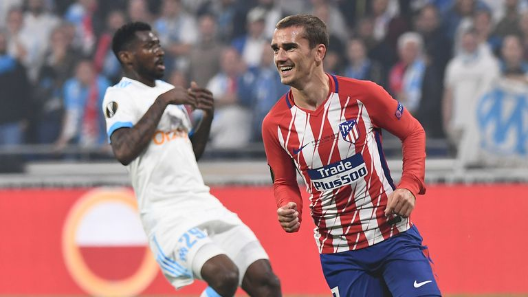 Antoine Griezmann celebrates in the Europa League final