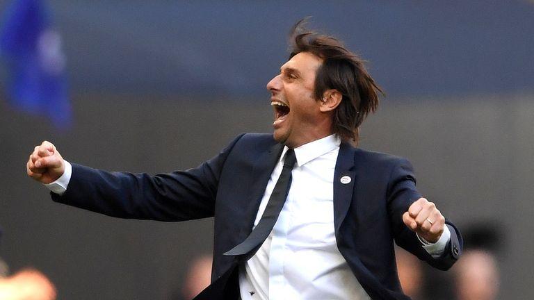 Antonio Conte celebrates Chelsea's FA Cup victory over Manchester United
