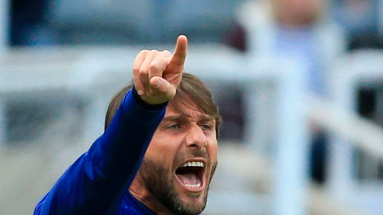 Conte shouts from the touchline at St James' Park