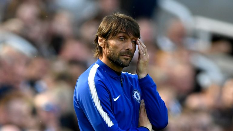 Antonio Conte looks on from the touchline at St James' Park
