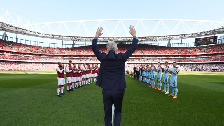 Wenger walked out to a guard of honour in his last game at the Emirates Stadium