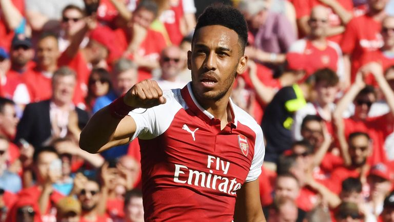 Pierre-Emerick Aubameyang celebrates after scoring for Arsenal against Burnley in the Premier League.