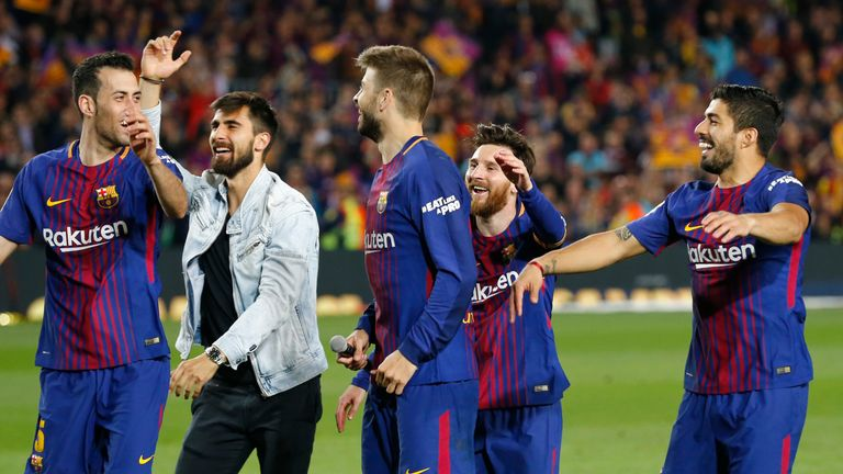 Barcelona celebrate after the 2-2 draw with Real Madrid