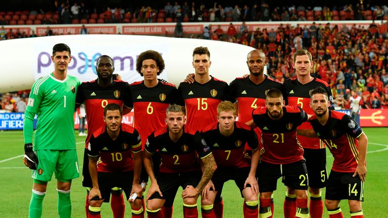 Image of the Belgium squad in 2017 ahead of the World Cup qualifier against Gibraltar