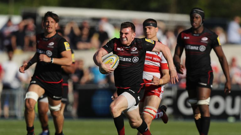 Ben Spencer breaking away for one of Saracens' tries
