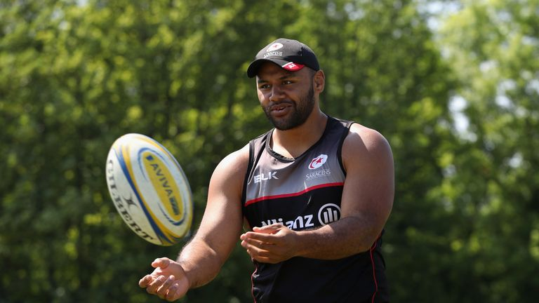 Billy Vunipola took part in a training session with Saracens on Tuesday