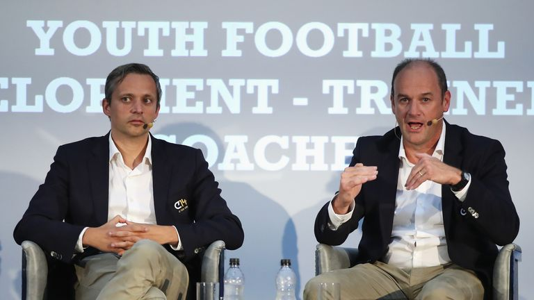 Ruben Jongkind and Bob Browaeys during day 2 of the Soccerex Global Convention at Manchester Central Convention Complex on September 5, 2017 in Manchester, England.