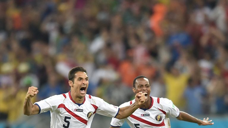 Celso Borges celebrates reaching the quarter-final of the 2014 World Cup