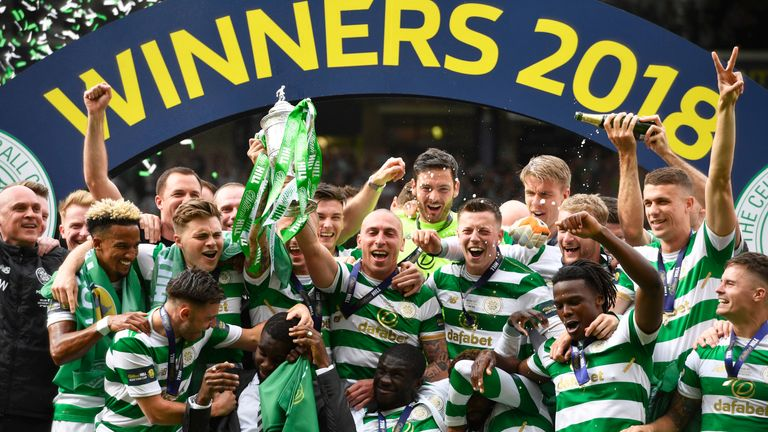 Celtic celebrate after winning the Scottish Cup last season
