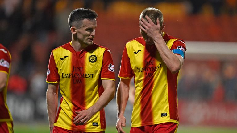 Chris Erskine and Paul McGinn look dejected at full-time