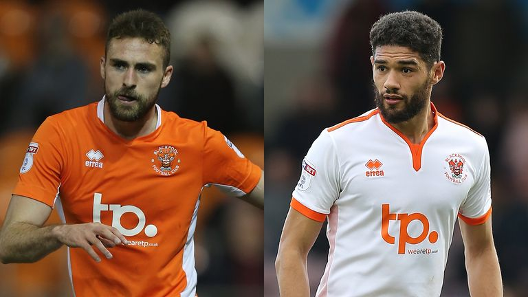 Blackpool's Clark Robertson (right) and Kelvin Mellor could be playing in the Championship next season