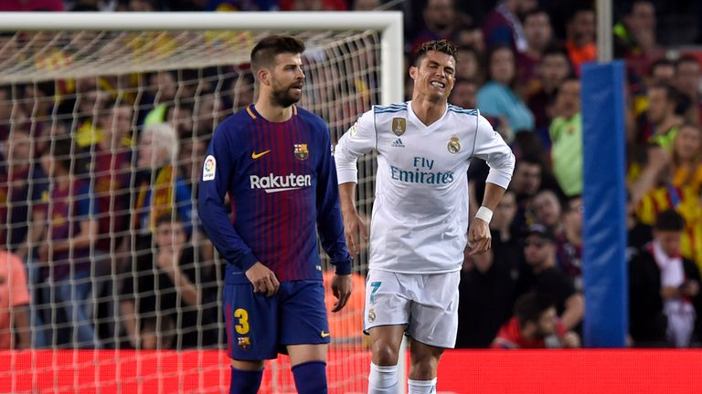 Cristiano Ronaldo during the La Liga match between Barcelona and Real Madrid at Camp Nou on May 6, 2018 in Barcelona, Spain.