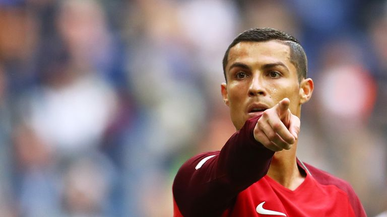 Cristiano Ronaldo gestures during the FIFA Confederations Cup Russia 2017 Group A match between New Zealand and Portugal at Saint Petersburg Stadium on June 24, 2017