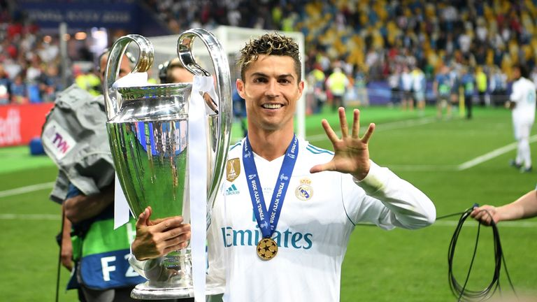 Cristiano Ronaldo will target a sixth Champions League title at Juventus after winning one with Manchester United and four at Real Madrid