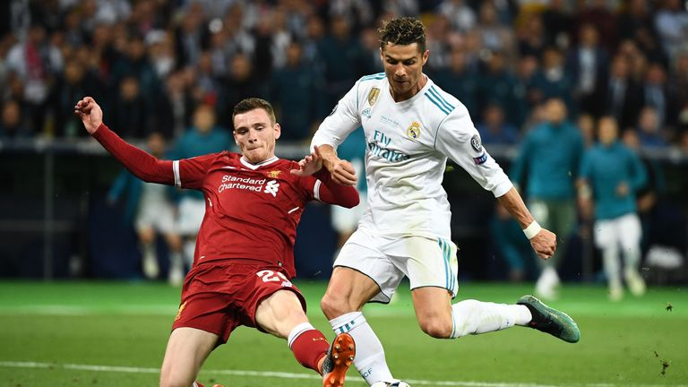 Robertson tackles Cristiano Ronaldo in the Champions League final