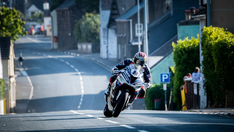 Kneen crashed at the Churchtown section of the Superbike practice session on Wednesday (credit: Steve Babb)