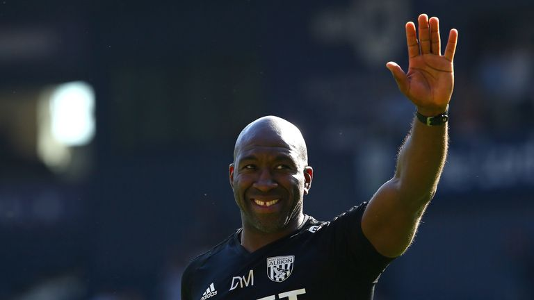 Darren Moore salutes the West Brom fans after their 1-0 win over Spurs earlier this month