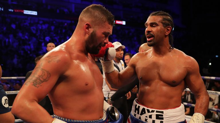 Tony Bellew and David Haye during Heavyweight fight at The O2 Arena on May 5, 2018 in London, England