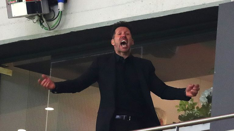 Diego Simeone during the UEFA Europa League Semi Final second leg match between Atletico Madrid  and Arsenal FC at Estadio Wanda Metropolitano on May 3, 2018 in Madrid, Spain.