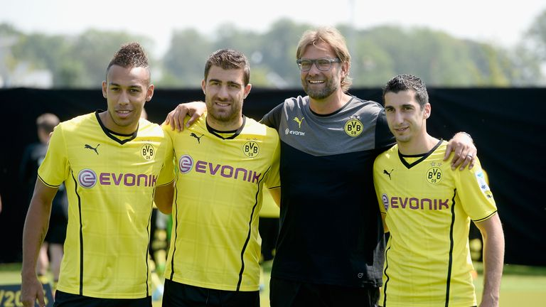 Pierre-Emerick Aubameyang (L), Sokratis (2nd L) and Henrikh Mkhitaryan (R) all joined Dortmund at the same time in 2013