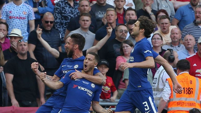 Eden Hazard (right) celebrates his winner in the FA Cup final