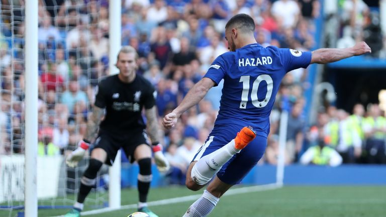 Eden Hazard takes a shot on goal during the Premier League match against Liverpool at Stamford Bridge