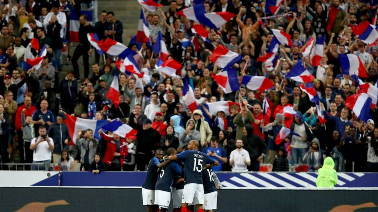 France celebrate after scoring against the Republic of Ireland