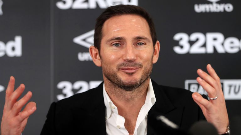 New Derby County manager Frank Lampard during the press conference at Pride Park Stadium, Derby. PRESS ASSOCIATION Photo. Picture date: Thursday May 31, 2018