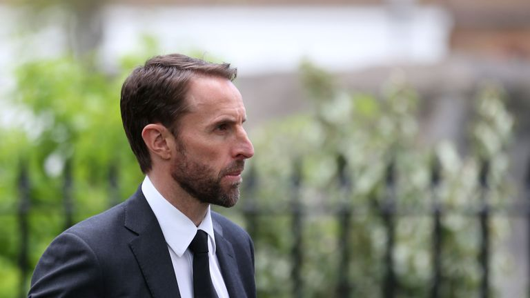 England manager Gareth Southgate arrives at St Luke's and Christ Church in London for Ray Wilkins' memorial service
