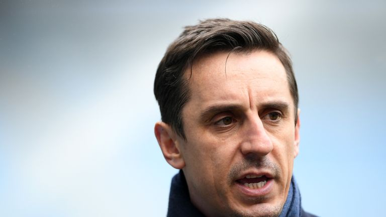 Gary Neville during the Premier League match between Manchester City and Chelsea at Etihad Stadium on March 4, 2018 in Manchester, England.
