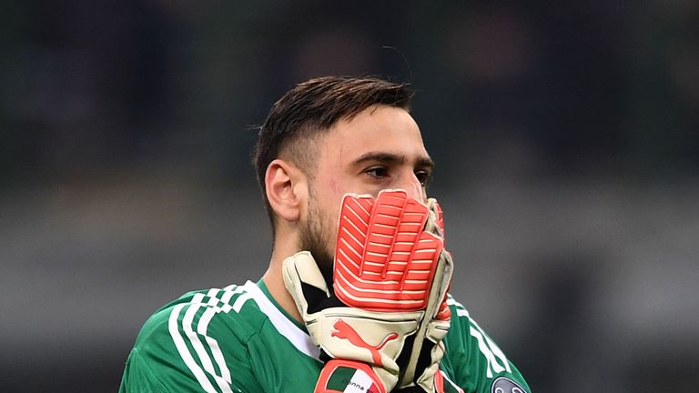 Gianluigi Donnarumma during UEFA Europa League Round of 16 match between AC Milan and Arsenal at the San Siro on March 8, 2018 in Milan, Italy.