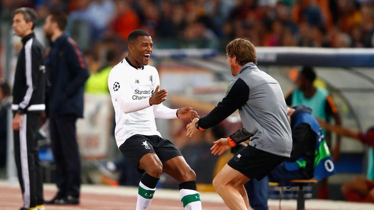Giorginio Wijnaldum celebrates after putting Liverpool 2-1 up against Roma